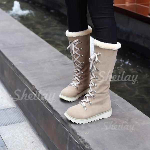 Donna Camoscio Senza tacco Stivali Stivali da neve con Allacciato scarpe