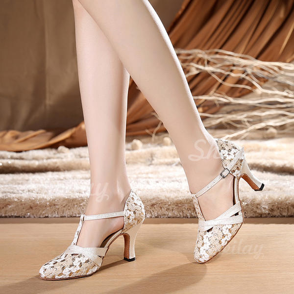 Жіночі Бальна зала Каблуки Тканина з Т-ремінець Танцювальне взуття
