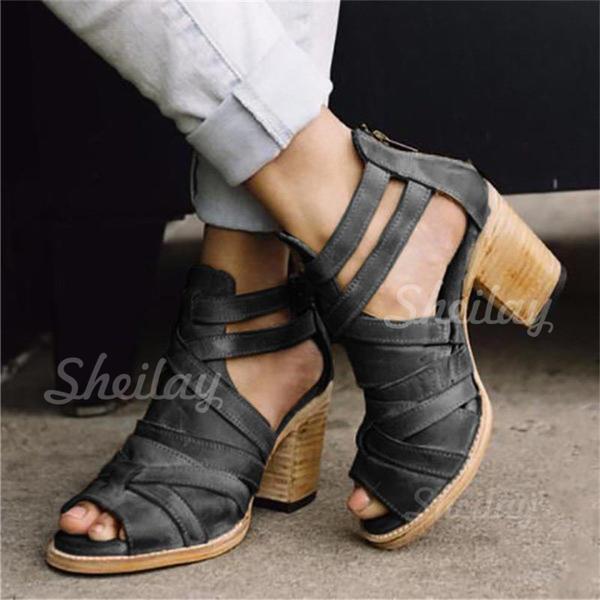 Naisten PU Chunky heel Sandaalit Avokkaat Peep toe jossa Solki kengät