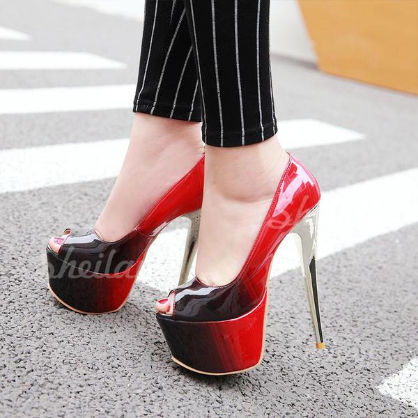 Női Műbőr Tűsarok Emelvény Peep Toe cipő