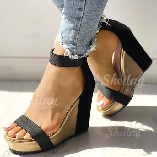 Naisten Kangas Wedge heel Sandaalit Avokkaat jossa Solki kengät