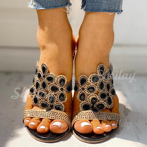 Pentru Femei PU Toc gros Încălţăminte cu Toc Înalt Şlapi cu Ştrasuri pantofi