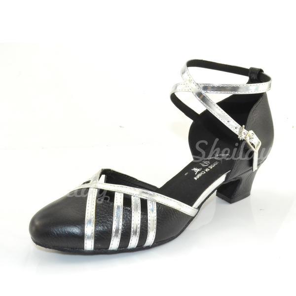 Жіночі Бальна зала Каблуки Насоси Реальна шкіра з Гомілковий ремінець Балетне взуття