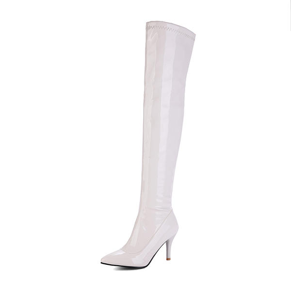 [US$ 43.99] Frauen Kunstleder Stöckel Absatz Stiefel Stiefel über Knie mit Reißverschluss Schuhe Sheilay