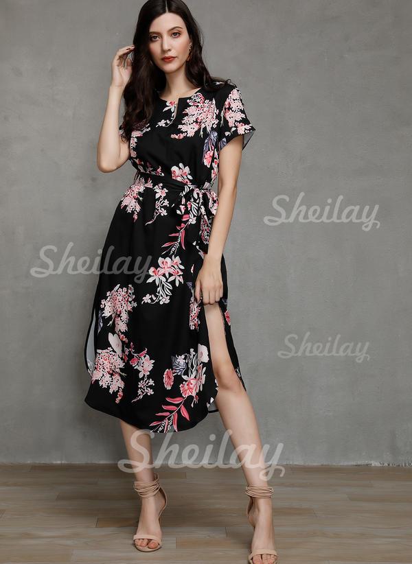 Print/Floral Short Sleeves Sheath Sexy/Casual/Boho/Vacation Midi Dresses