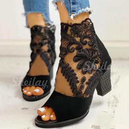 Pentru Femei Piele de Căprioară Plasă Toc gros Încălţăminte cu Toc Înalt Botine cu Fermoar pantofi