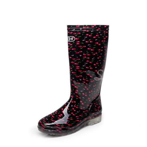 Donna PVC Tacco basso Stivali Stivali al ginocchio Stivali da pioggia con Altrui scarpe