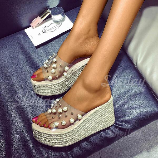 Pentru Femei PU Platforme Înalte Şlapi cu Perlă pantofi