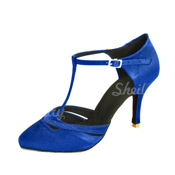 Жіночі Бальна зала Каблуки Насоси Атлас з Т-ремінець Взуття для спортивно-бальних танців