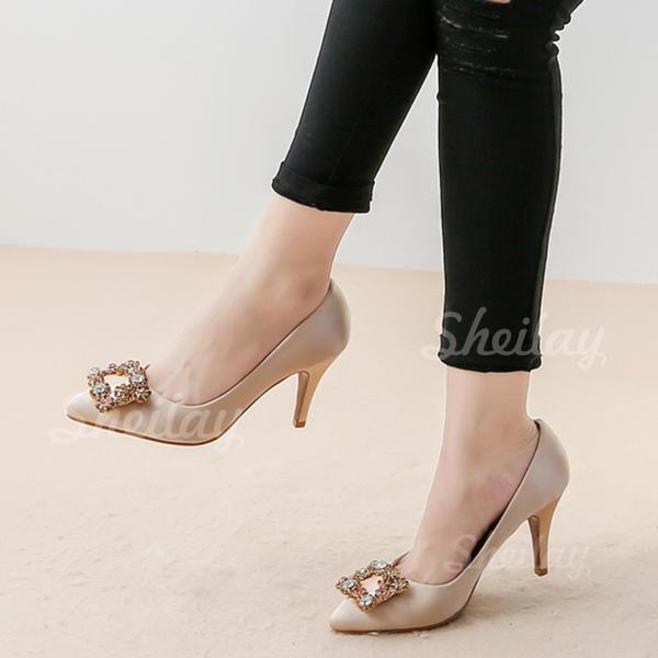 Női Selyemszerű a szatén Tűsarok Magassarkú -Val Kristály cipő