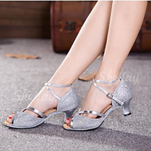 Donna Latino Tacchi Sandalo Stiletto Glitter scintillanti con Listino alla caviglia Cava-out Paillette Latino