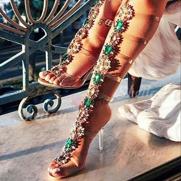 Donna PVC Tacco a spillo Sandalo Stiletto Punta aperta Con cinturino con Strass scarpe