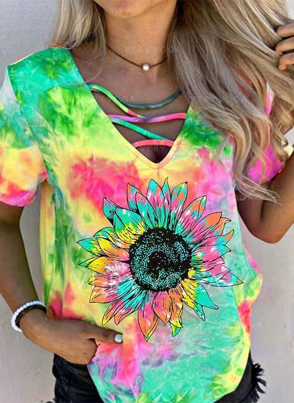 Nadruk słonecznika Tie Dye Dekolt w kształcie litery V Krótkie rękawy T-shirty