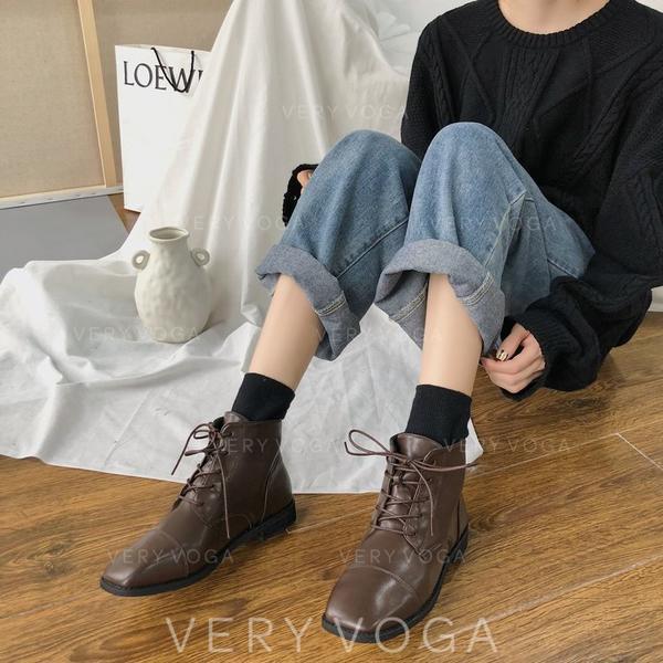 Жіночі ПУ Низький каблук Бокові черевики з Зашнурувати взуття