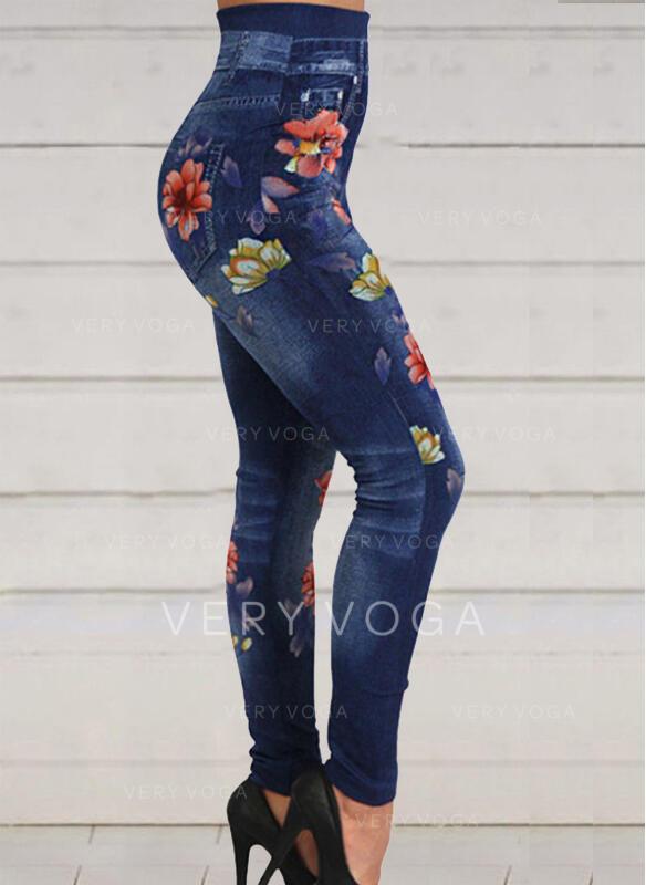 Floral Print Shirred Plus Size Sexy Skinny Yoga Leggings