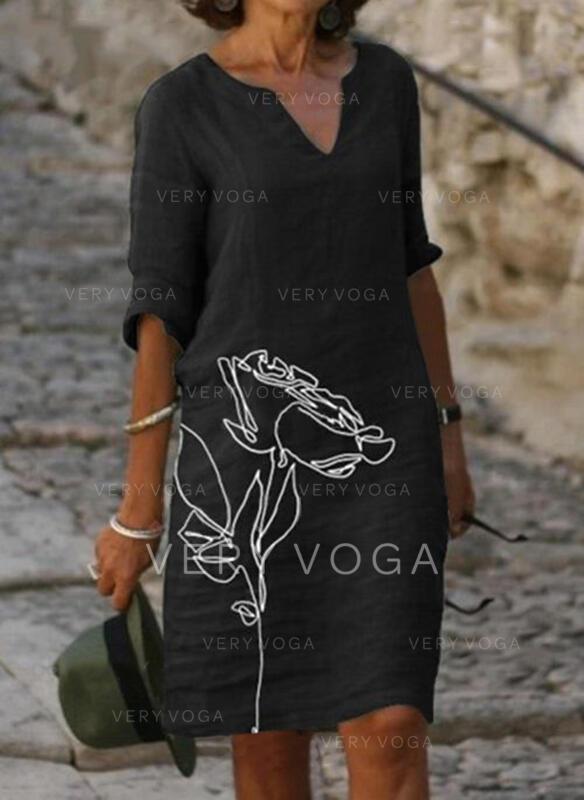 Nadruk/Kwiatowy Rękawy 1/2 Suknie shift Długośc do kolan Nieformalny Tunika Sukienki