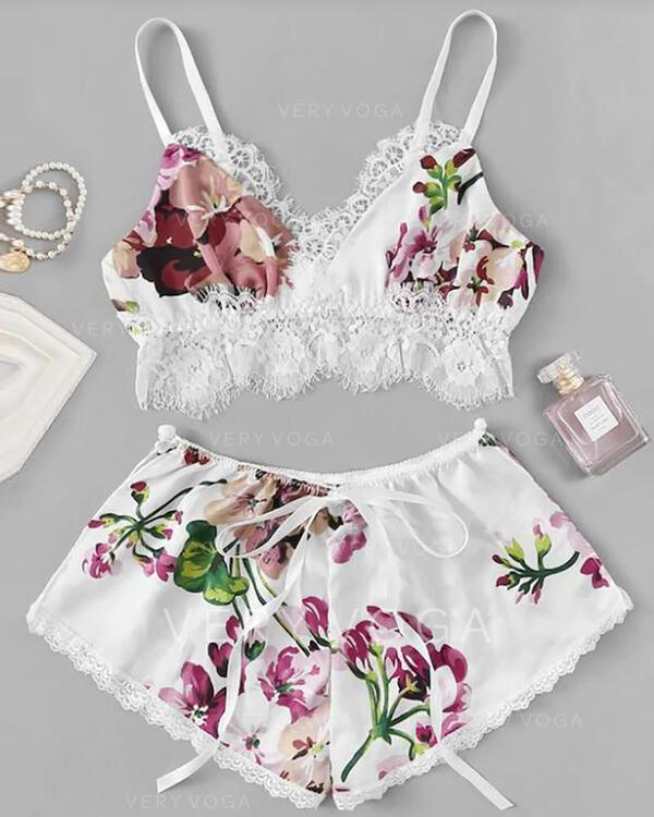 U-Neck Sleeveless Floral Sexy Cami & Short Sets