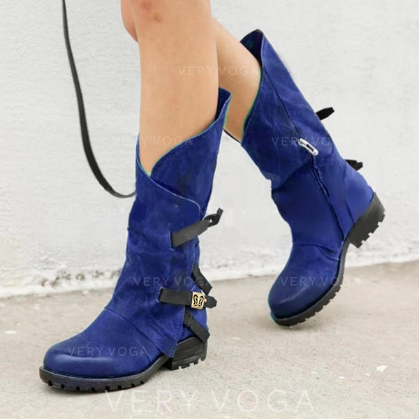 Women's PU Low Heel Boots Mid-Calf Boots With Buckle Zipper shoes