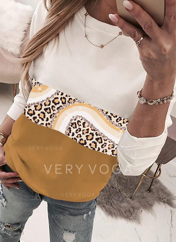 Trozos de color Leopardo Cuello redondo Manga larga Sudadera