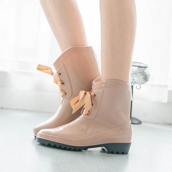 8121dd635 De mujer PVC Tacón bajo Botas Botas longitud media Botas de lluvia con Cordones  zapatos