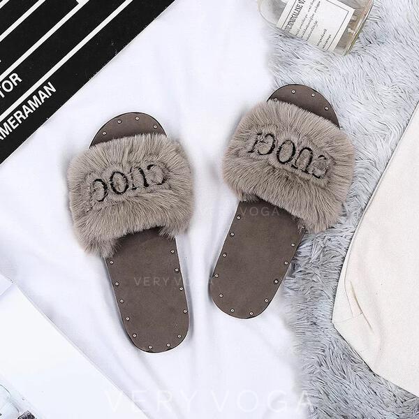 Donna Tessuto Senza tacco Ciabatte con Rivet Pelliccia scarpe