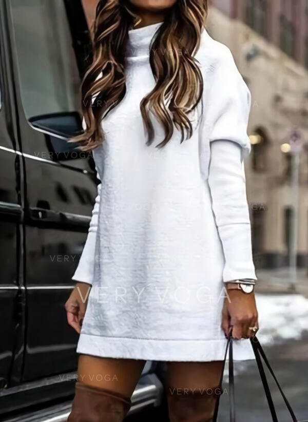 Solid Long Sleeves Shift Above Knee Little Black/Casual Tunic Dresses