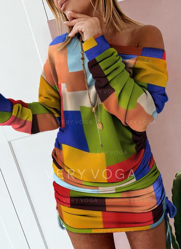 Wyszczuplająca Długie rękawy Bodycon Nad kolana Casual Sukienki