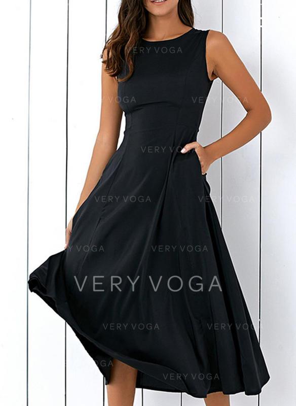 Sólido Sin mangas Acampanado Midi Vintage/Pequeños Negros/Fiesta/Elegante Vestidos