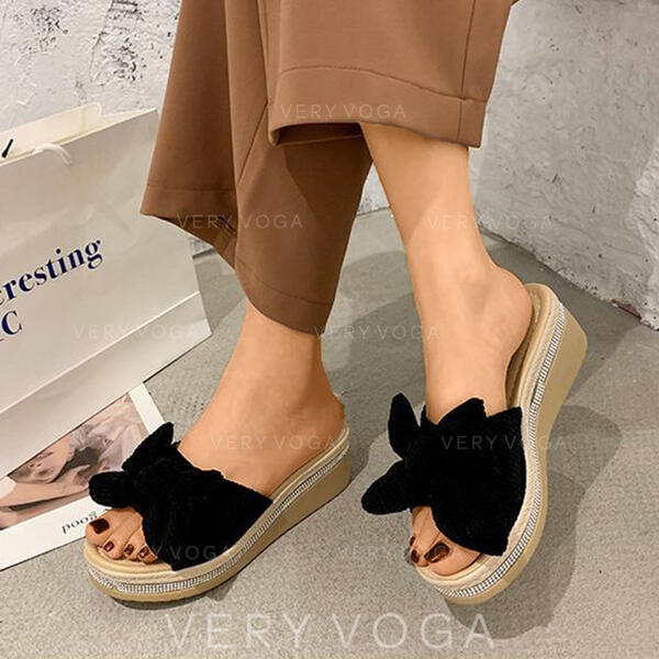 Women's Suede Wedge Heel Sandals Wedges Slippers With Bowknot Solid Color shoes