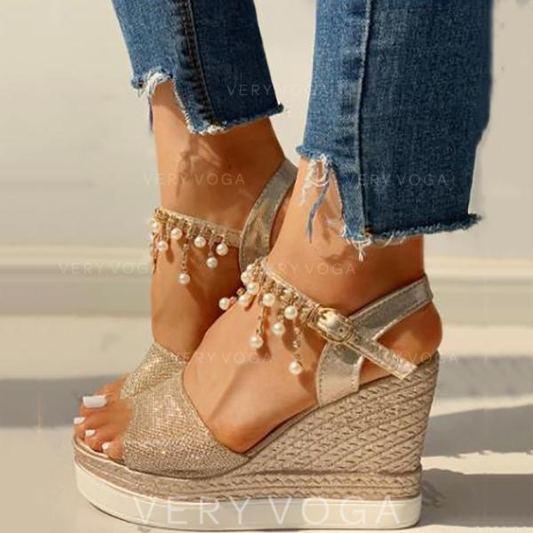 Women's PU Wedge Heel Sandals Peep Toe With Rhinestone shoes
