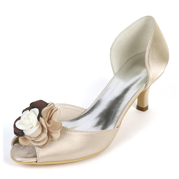 c80d77848851 Women s Silk Like Satin Stiletto Heel Peep Toe Pumps With Satin Flower