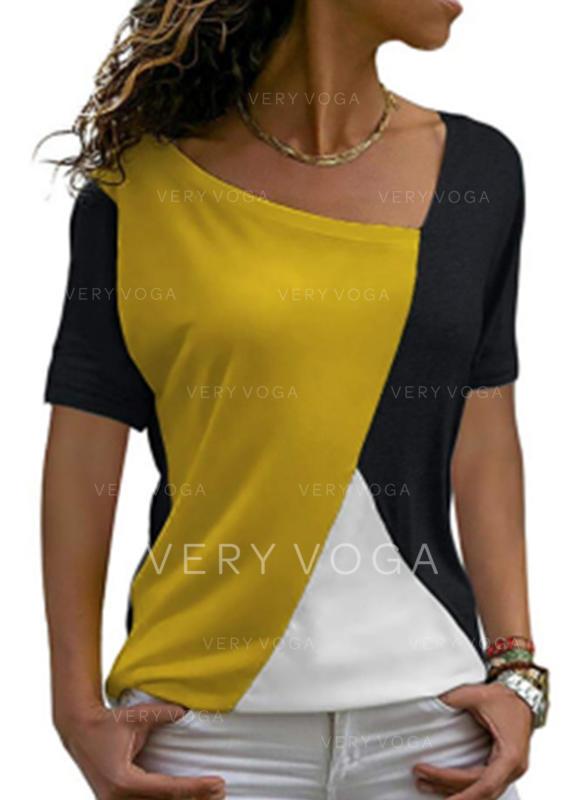 Kleurblok Ronde Hals Korte Mouwen Casual Breiwerk T-shirts