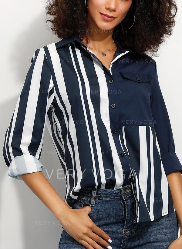 A righe Risvolto Maniche lunghe Bottone Casuale Shirt and Blouses