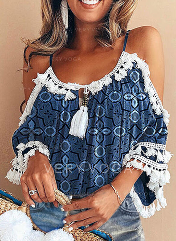 Print Lace Tassel Cold Shoulder 3/4 Sleeves Casual Tassel Blouses