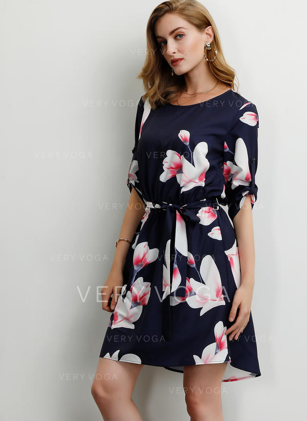 Print/Floral 1/2 Sleeves A-line Above Knee Casual/Party Dresses
