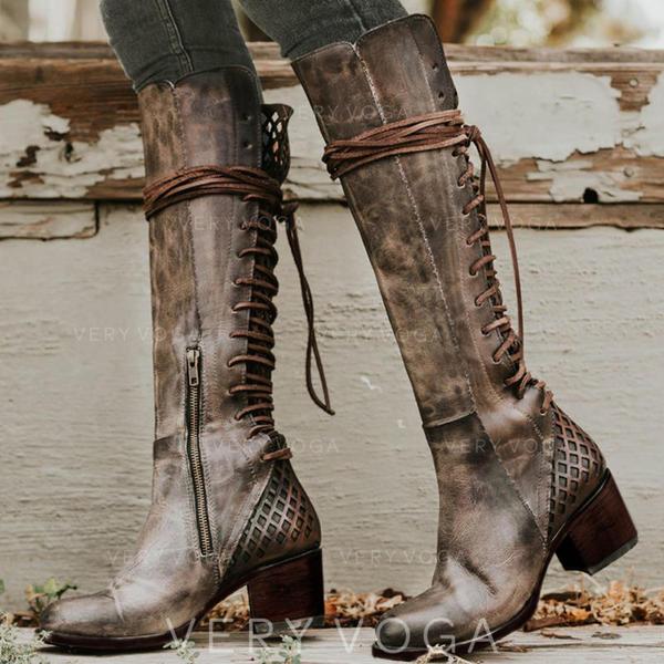 De mujer PU Tacón ancho Salón Botas con Cordones zapatos