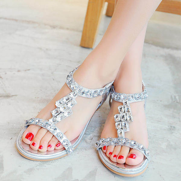 993d4f69cd5 Women s Leatherette Low Heel Sandals With Buckle Rhinestone ...