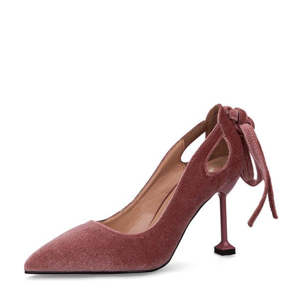 Dla kobiet Zamsz Obcas Kaczuszka Czólenka Zakryte Palce Z Kokarda obuwie