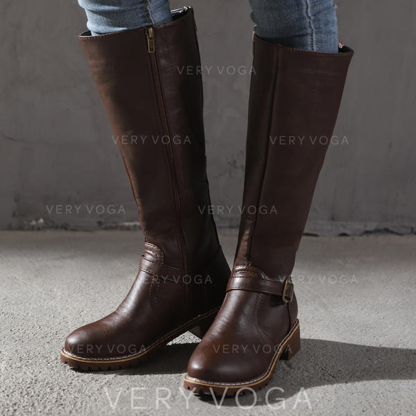Women's PU Low Heel Pumps Boots Knee High Boots With Buckle shoes