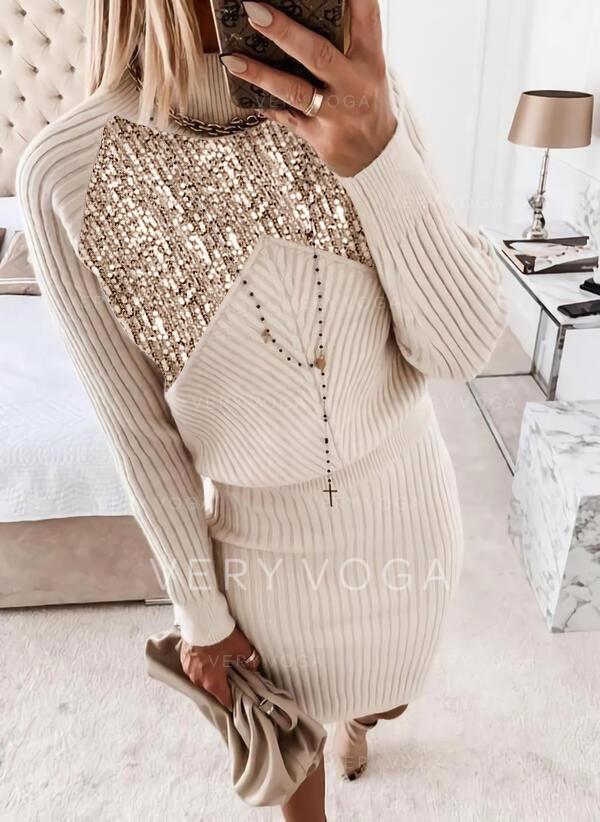 Pailletten Stehkragen Freizeit Pulloverkleid