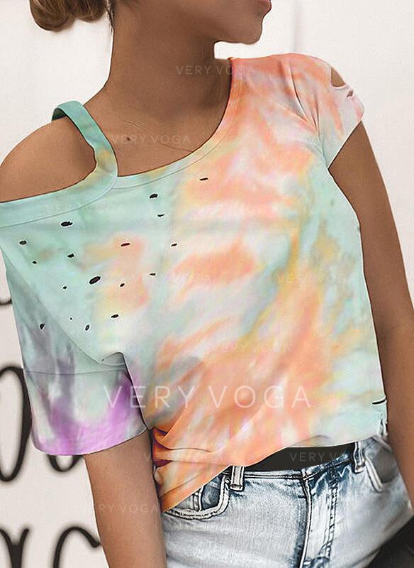 Estampado Um Ombro 1/2 Manga Casual Camisetas