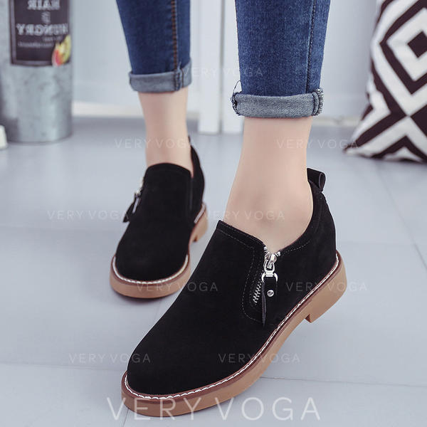 Women's PU Flat Heel Flats Closed Toe With Zipper shoes