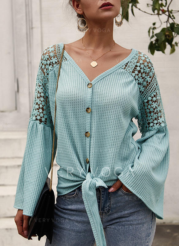 Solid Lace V-neck Long Sleeves Button Up Casual Elegant Knit Blouses