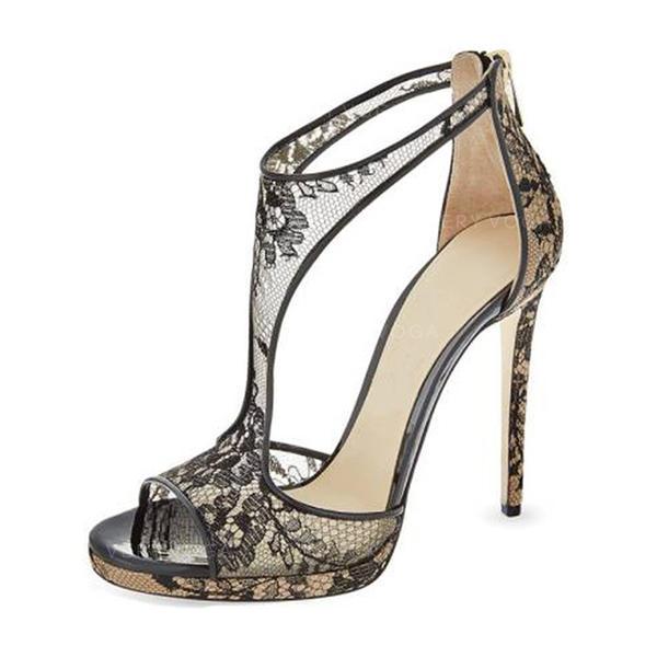 Kvinder Blonder Stiletto Hæl sandaler Pumps med Udhul sko