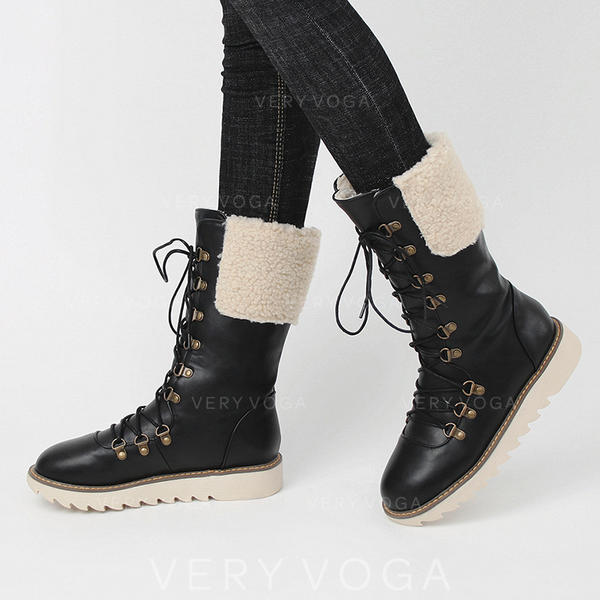 Women's Leatherette Flat Heel Mid-Calf Boots With Lace-up shoes