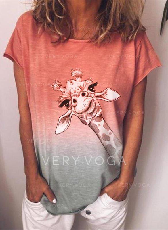 Animal Print Gradient Round Neck Short Sleeves T-shirts