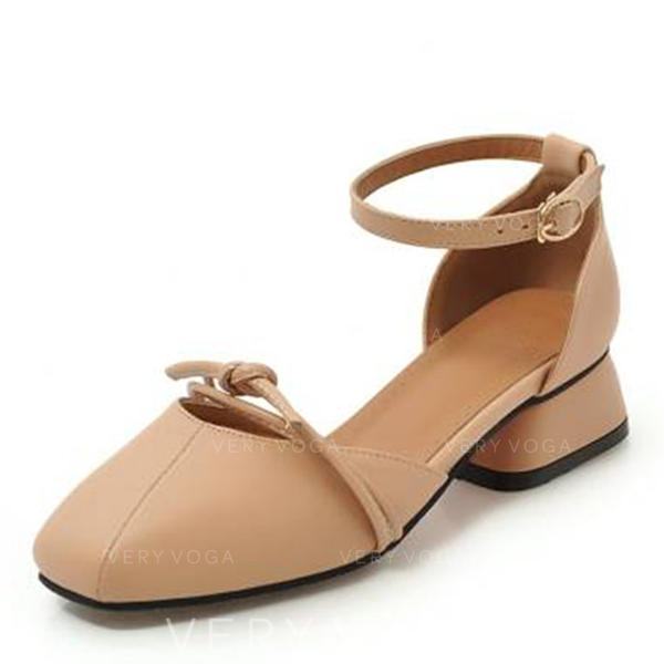 Women's Leatherette Chunky Heel Sandals Closed Toe With Bowknot shoes