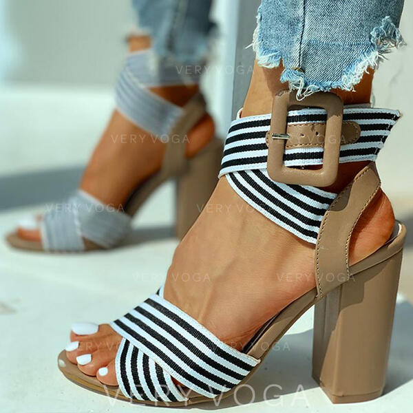 Bayanlar PU Tıknaz Topuk Ile Toka Şeffaf ayakkabı