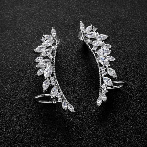 Schickes Legierung Zirkon Kupfer Damen Ohrringe