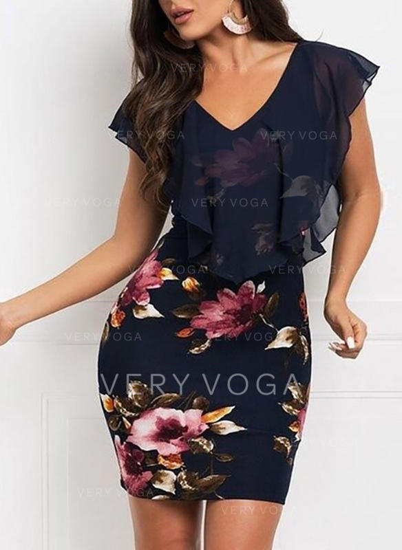 Print/Floral Short Sleeves Bodycon Above Knee Casual/Party Dresses